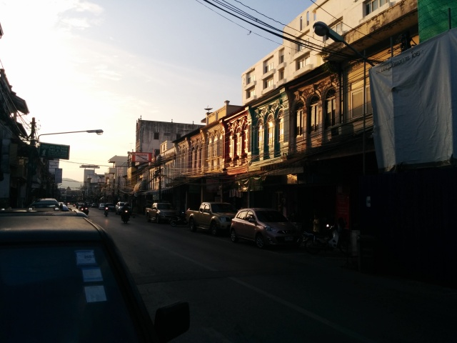 Sun setting on the Sino-Portugese neighbourhood in Phuket.